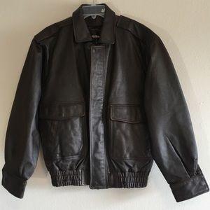 Vintage Leather Jacket Mens Bomber Coat 80's 90's